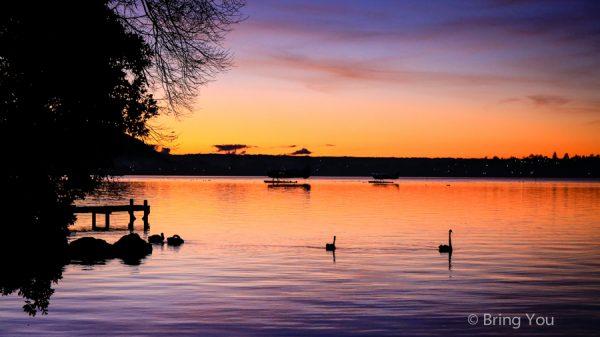 【紐西蘭Rotorua景點】市政公園、Lake Rotorua 夕陽美景、羅托路亞博物館 Rotorua Museum
