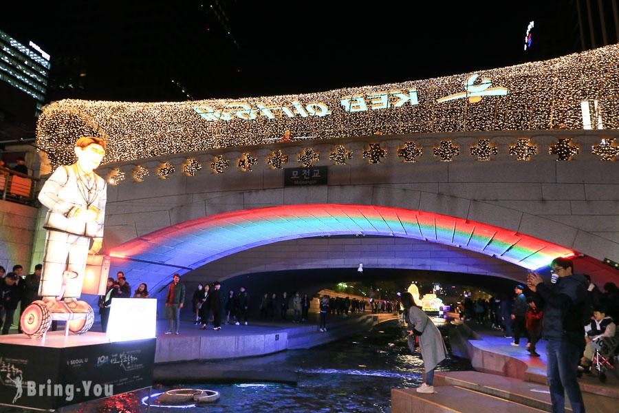【首爾燈節】清溪川水畔燈飾夜間美景,來體驗一年一度的首爾燈會吧!