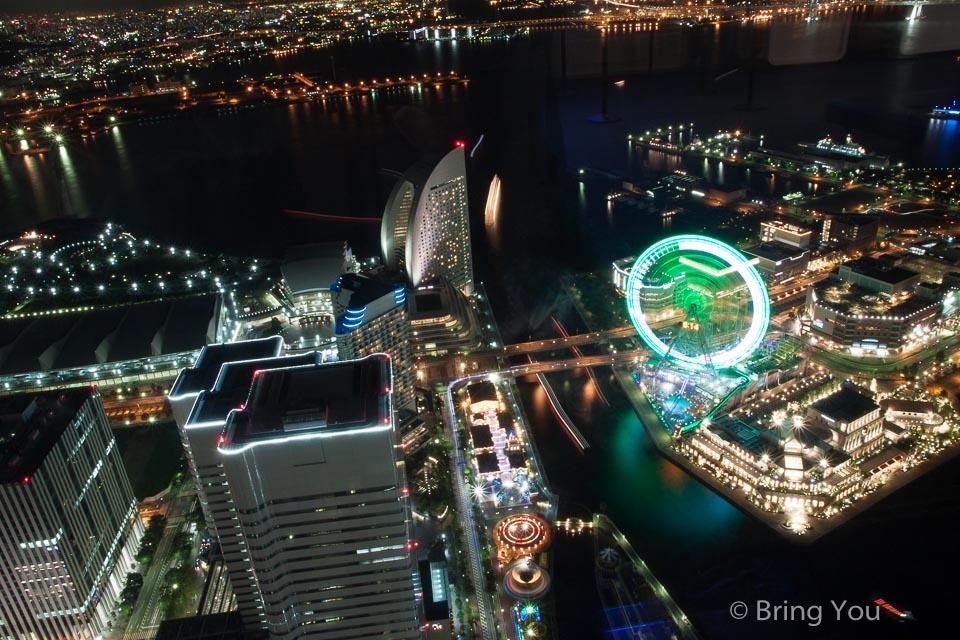 【橫濱夜景景點】橫濱地標塔大廈69樓 Landmark Plaza 美到翻的港灣夜景