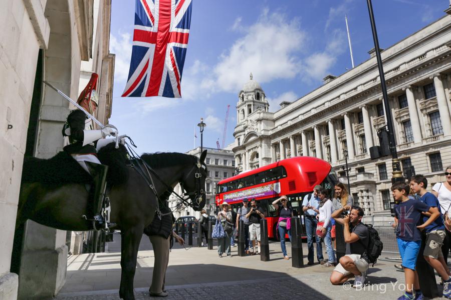 【英國倫敦查令十字】特拉法加廣場、唐寧街10號、禁衛騎兵團部