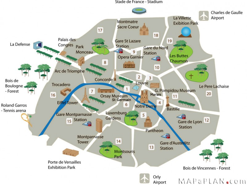 Paris top tourist attractions detailed map