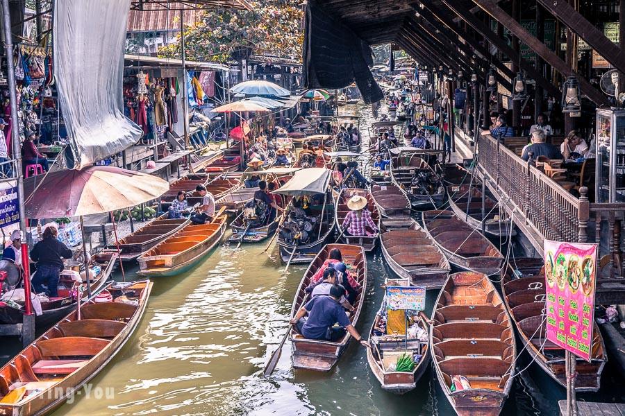 【曼谷景點】丹能莎朵水上市場半日遊:體驗泰國搭船殺價的水上人家交易