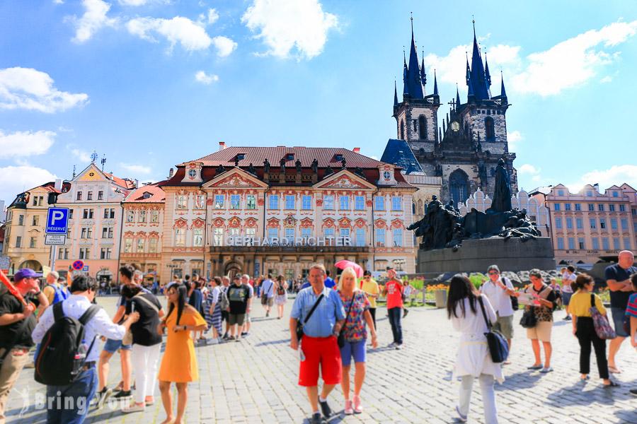 【布拉格舊城區路線】舊城廣場景點:天文鐘、泰恩教堂、聖尼古拉教堂、兩隻金熊之屋