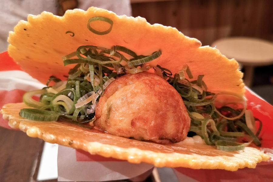 【道頓堀美食】超特色章魚燒仙貝 – 章魚燒道樂WANAKA(たん焼道楽 わなか)