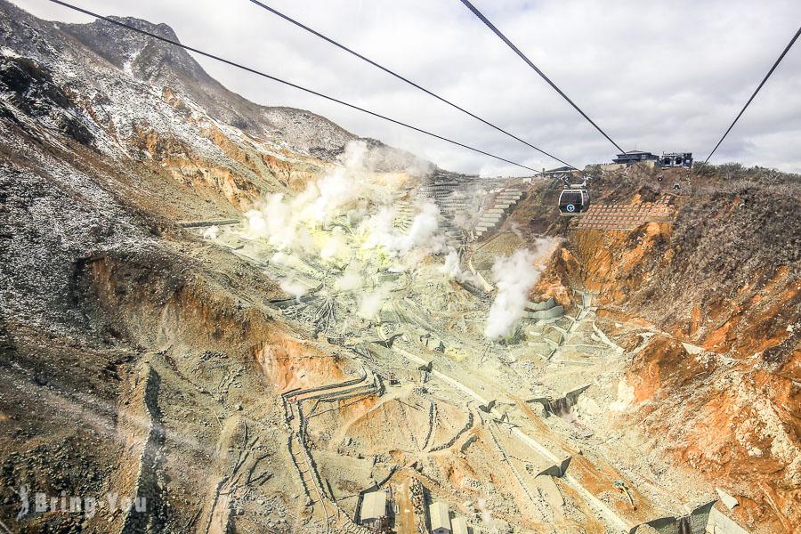 【箱根景點】大涌谷:超壯觀硫磺沸騰的火山山谷
