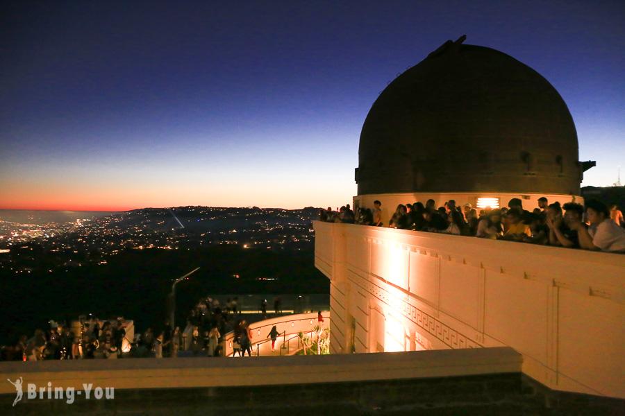 【洛杉磯晚上景點】格里斐斯天文台 Griffith Observatory:約會看夕陽、夜景好去處