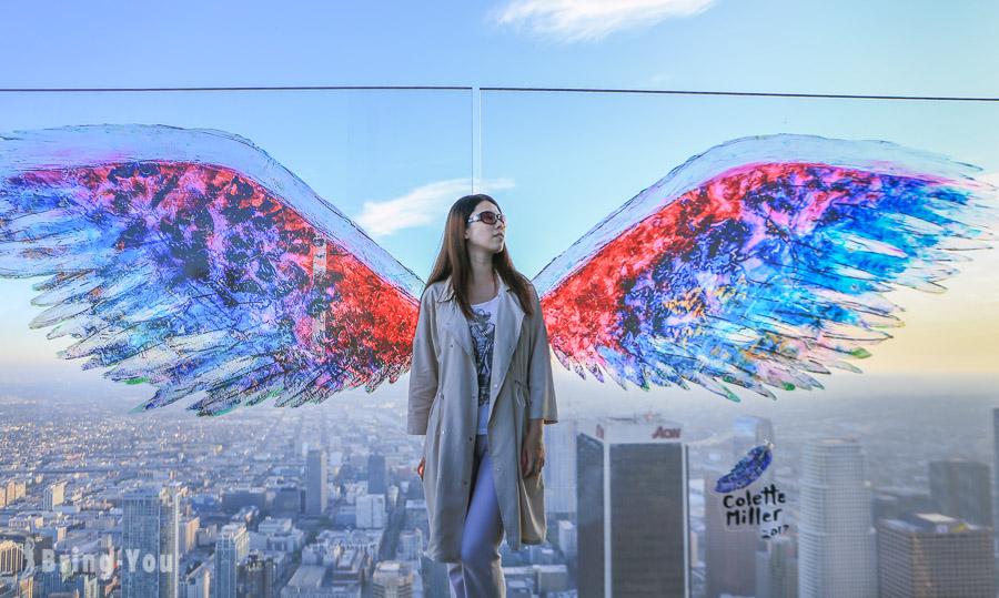 【洛杉磯景點】OUE Skyspace Los Angeles 洛杉磯天空觀景台:透明玻璃滑梯、網美拍照天使翅膀、夕陽攻略