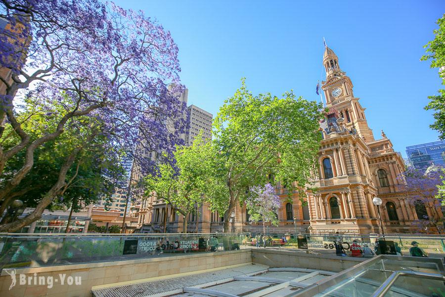 【世上最美的購物中心】雪梨維多利亞女王大廈 QVB、Town Hall周圍景點市政廳