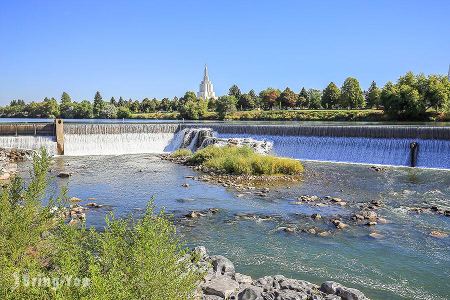 【美國愛達荷州】愛達荷瀑布市(Idaho Falls) :蛇河綠帶遠望摩門教聖殿