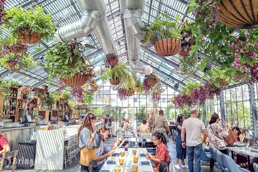 【洛杉磯網美IG打卡餐廳】Openaire at The LINE Hotel:在韓國城綠意盎然的玻璃屋裡用餐