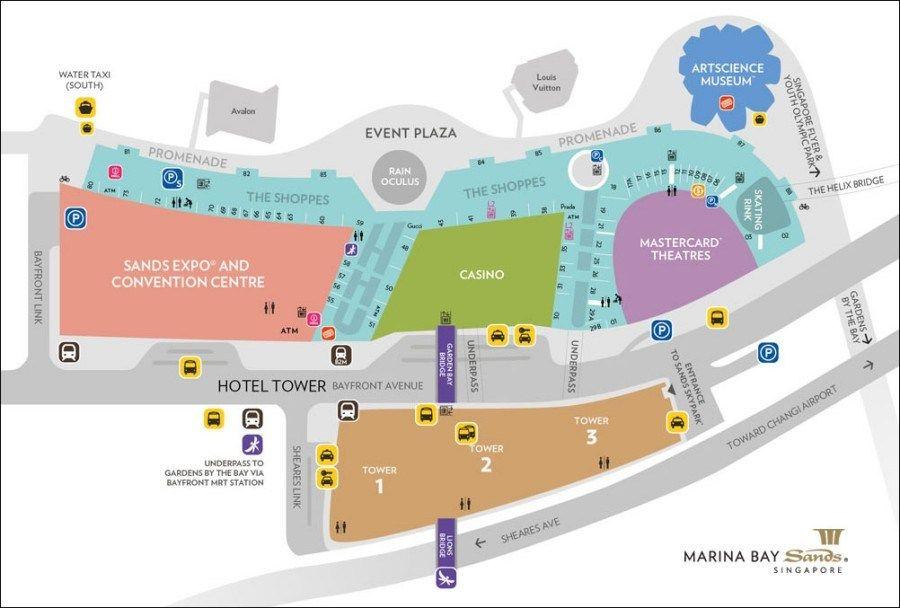 新加坡濱海灣金沙酒店地圖